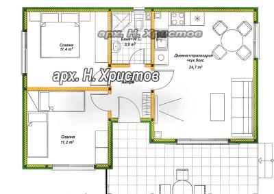 разпределение на къща 63 м2