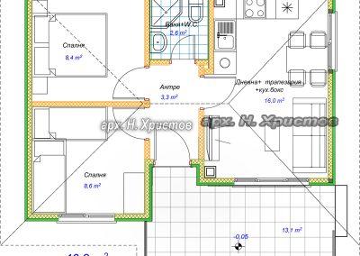 разпределение къща 46m2