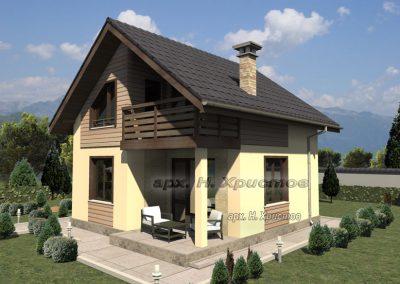 Проект на двуетажна сглобяема къща с РЗП 80 кв.м.