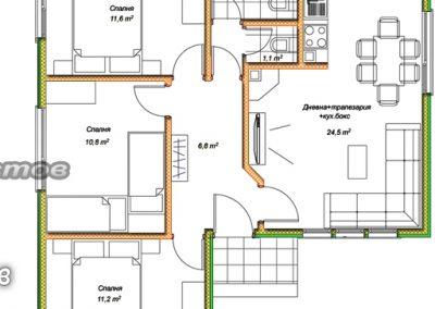 разпределение къща 82 кв.м.
