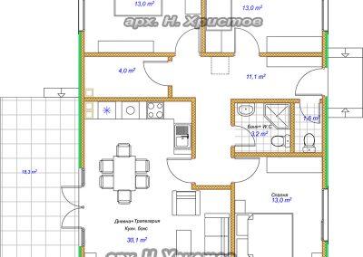 Сглобяема къща Хубав дом 102 кв.м. разпределение