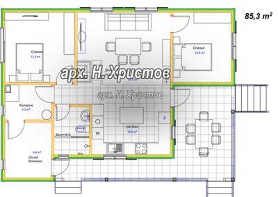 Сглобяема къща Хубав дом 85 кв.м разпределение