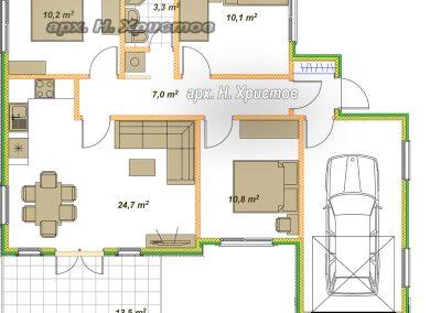 Сглобяема къща Хубав дом 101 кв.м. разпределение