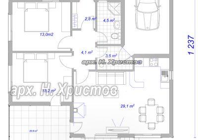 Сглобяема къща Хубав дом 105,1 кв.м. разпределение