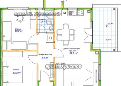 Сглобяема къща Хубав дом 84 кв.м. разпределение