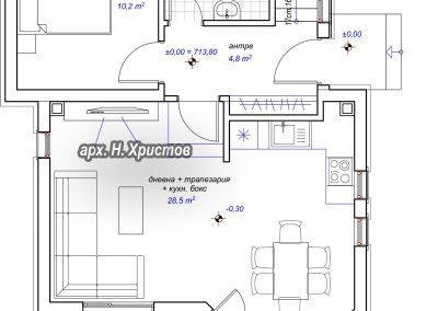 разпределение къща 127 м2 първи етаж