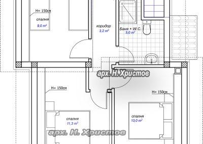 разпределение къща 127 м2 втори етаж